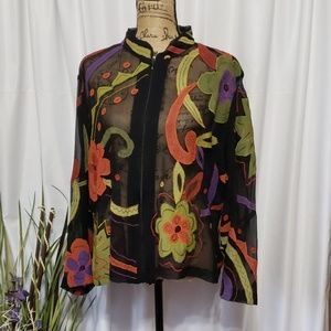 Chico's Silk Full Zipper Up Embroidery Blouse